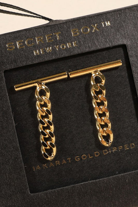 Chain Drop Gold Dip Earrings