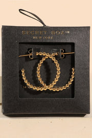 Ball Open Hoop Gold Dip Earrings