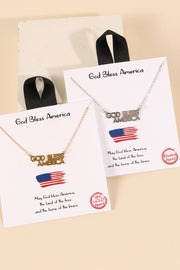 God Bless America Charm Gold Dip Short Necklace
