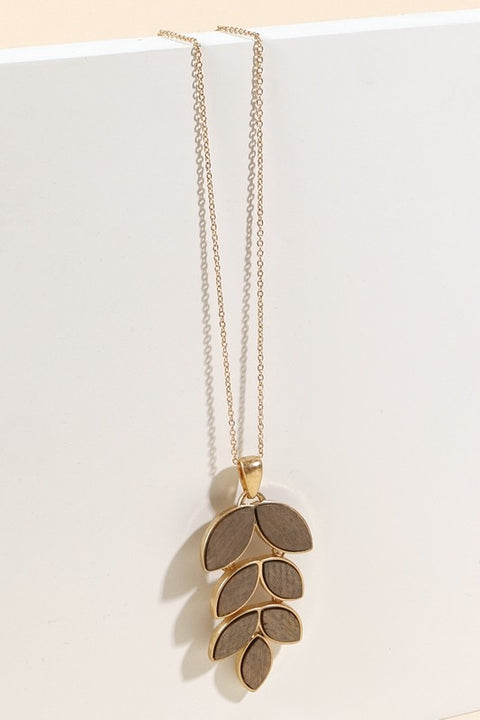Leaf Shape Wood Pendant Long Necklace