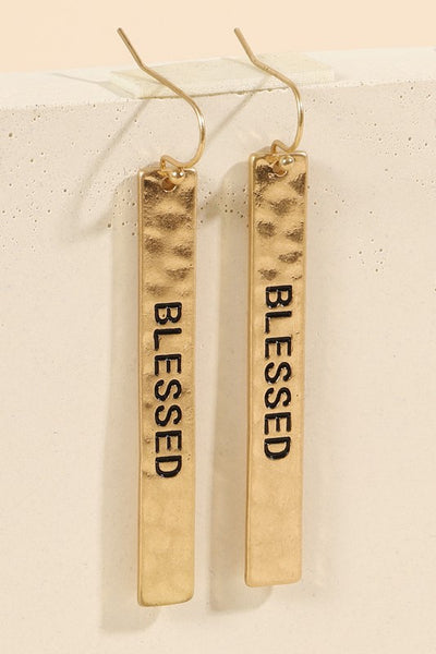 Blessed Script Metal Bar Dangling Earrings