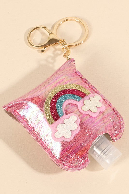 Rainbow Glitter Leather Kids Mini Sanitizer Holder