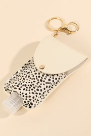 Animal Print Calf Hair Sanitizer Holder Key Chain