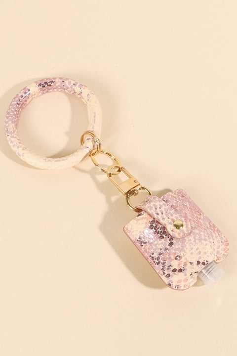 Snake Skin Print Leather Sanitizer Holder Key Ring