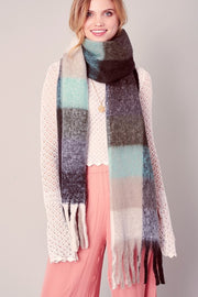 Striped Fringed Soft Scarf