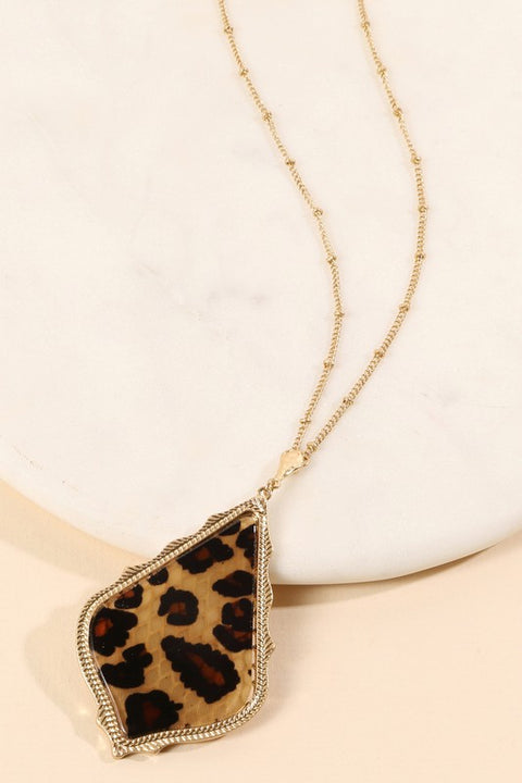 Rhombus Shape Pendant Long Necklace