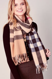 Plaid Pattern Fringed Oblong scarf