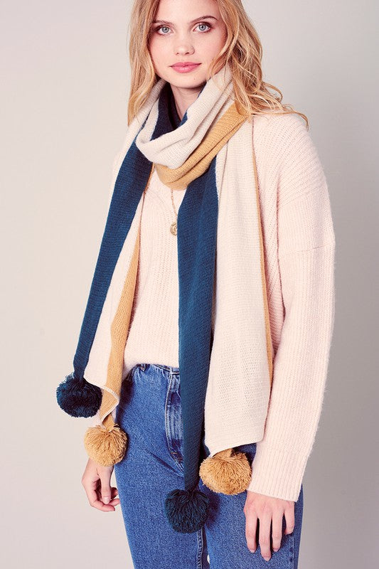Solid Tones Pom Pom Winter Scarf
