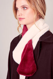 Two Tone Faux Fur Slit Scarf