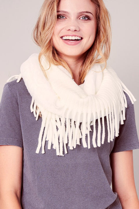 Faux Fur Fringed Infinity Scarf