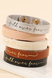 Faith Over Fear Leather Bracelet