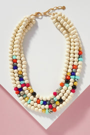 Wooden and Stone Beads Multi-layer Bib Necklace