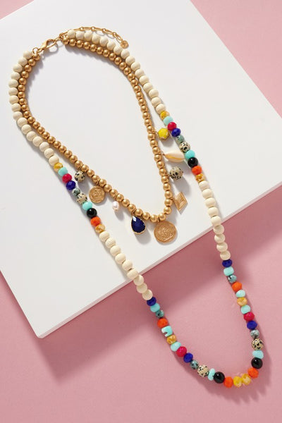 Wooden Stone Beads Necklace