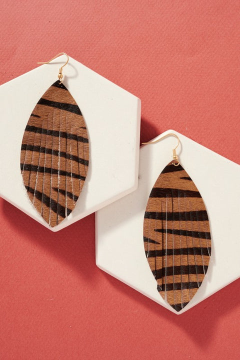 Animal Print Genuine Leather Fringed Earrings