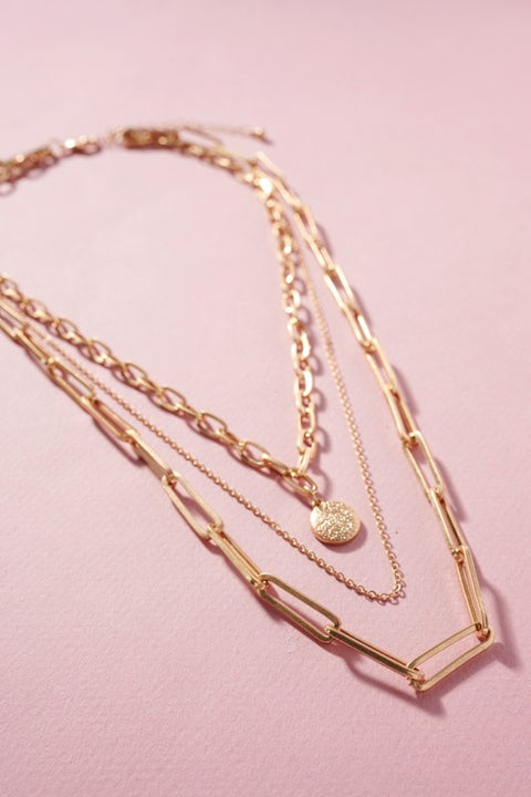 Round Charm Chain Linked Layered Necklace