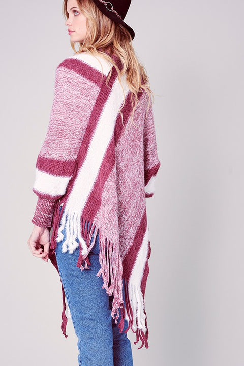 Striped Knitted Fringed Poncho