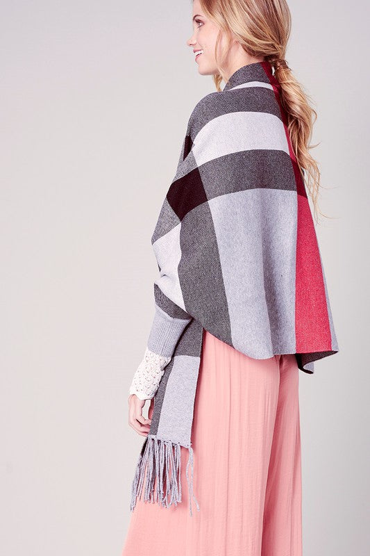 Classic Plaid Jacquard Knit Cape with Sleeves