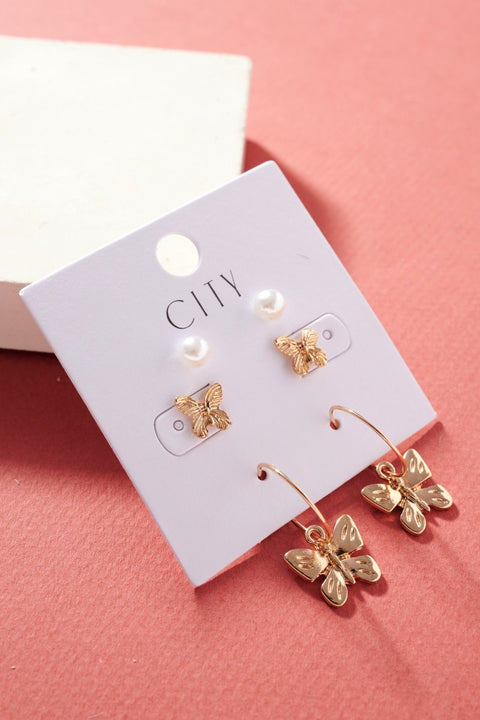 Pearl Butterflies Stud Earrings Set