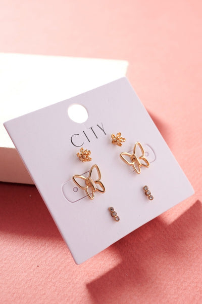 Flower Butterflies Stud Earrings Set