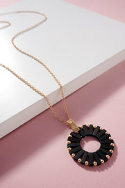 Wooden Round Pendant Long Necklace