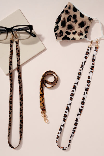 Leopard Print Faux Suede Ribbon Mask Lanyards