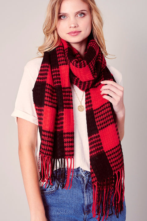 Gingham Checker Soft Scarf with Fringe