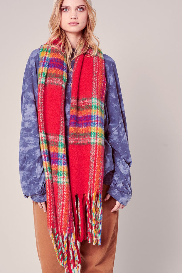 Puffy Multi-color Plaid Fringed Long Scarf