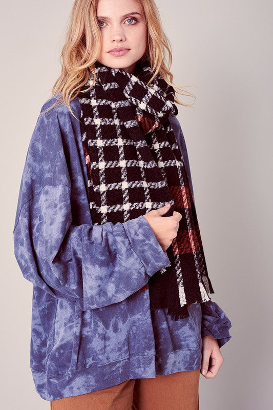 Classic Plaid Over-sized Frayed Blanket Scarf