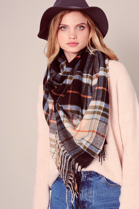 Multi-color Plaid Over-sized Blanket Scarf