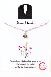Good Deeds CZ Teardrop Charm Necklace