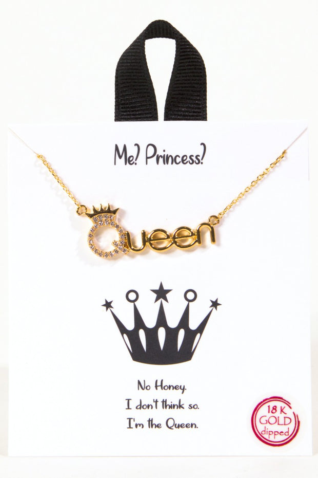 Queen CZ charm Gold Dipped Necklace