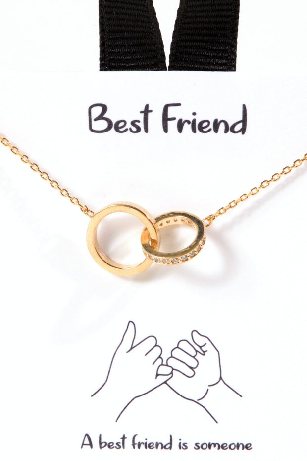 Best Friend Two Ring Link Charm Necklace