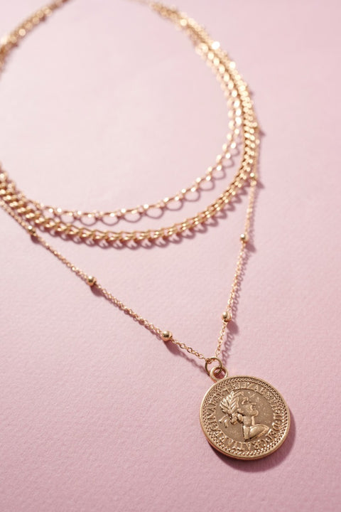 Multi Layered Metal Coin Charm Necklace