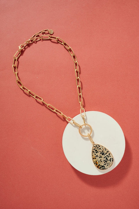Chunky Chain Necklace with Teardrop Stone Charm