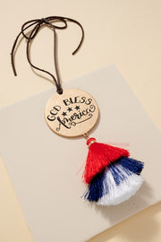 God Bless America Tassels Car Charm