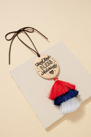 May God Bless America Tassels Car Charm