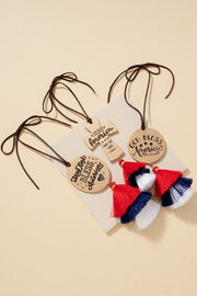 God Bless America Cross Tassel Car Charm