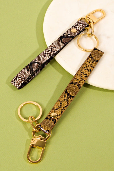 Snake Skin Print PU Leather Key Strap