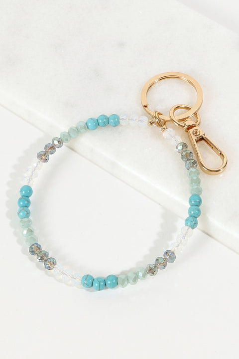 Glass Stones Beaded Metal Key Ring