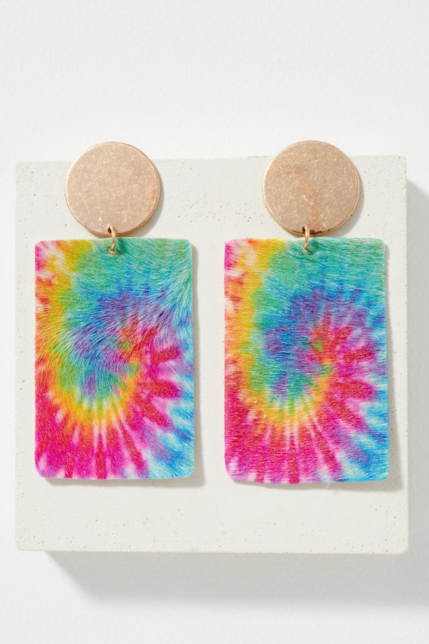 Colorful Swirl Print Leather Drop Earrings
