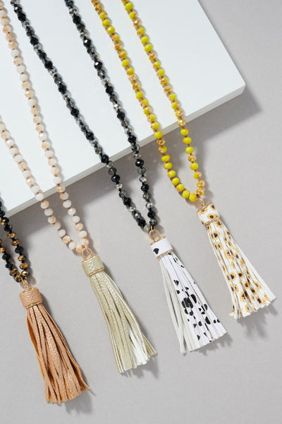 Western Style Crystal Beads Necklace with Tassel