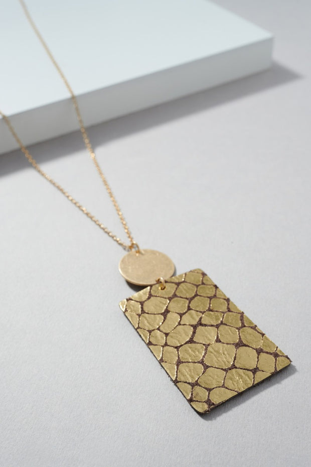 Foiled Snake Skin Leather Pendant Necklace