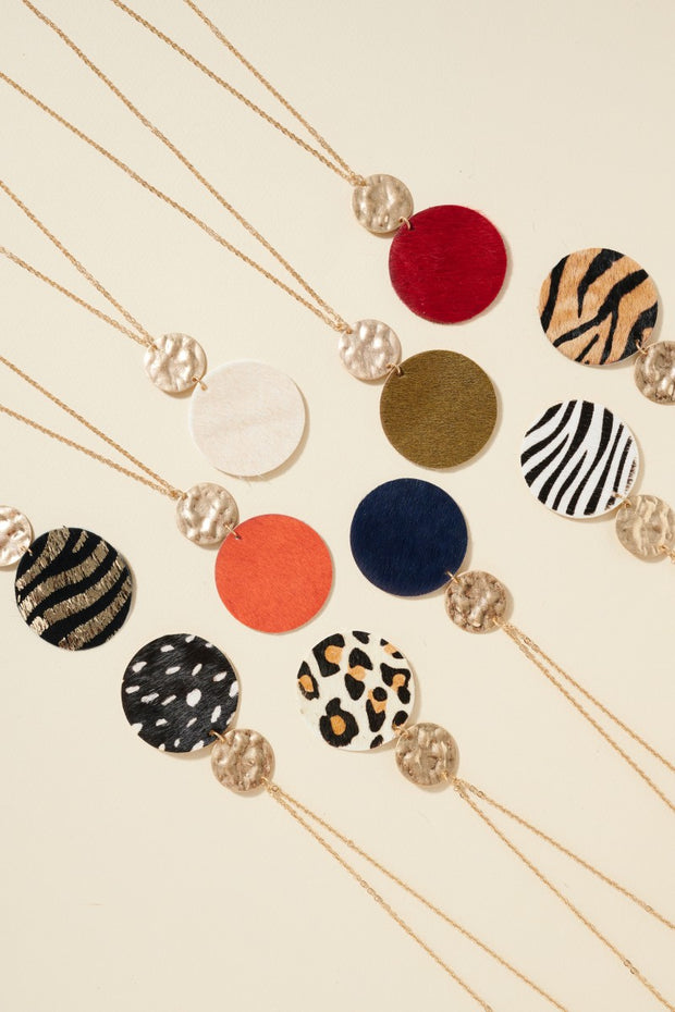 Animal Print Leather Pendant Necklace