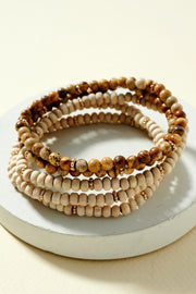 Set of 4 Stretch Wooden and Stone Beads Bracelets