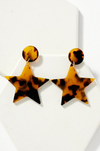 Marbled Acetate Post Earrings with Dangling Star