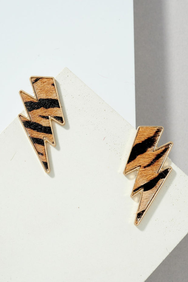 Calf Leather Lightning Bolt Shape Post Earrings