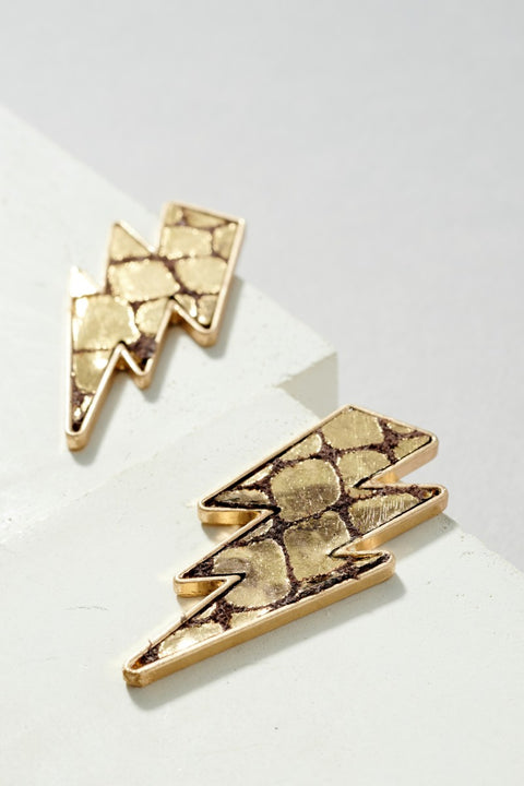 Metallic Foiled Lightning Bolt Shape Post Earrings