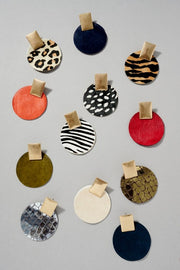 Animal Print Leather Round Post Earrings