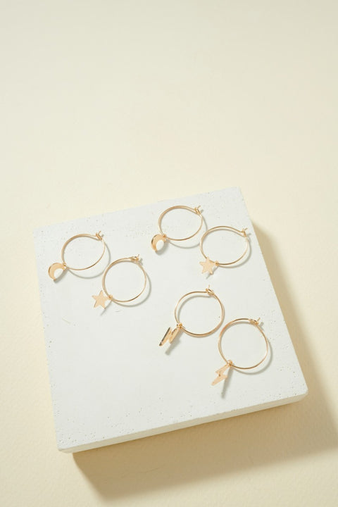 3 Pairs of Sky Theme Charm Hoops
