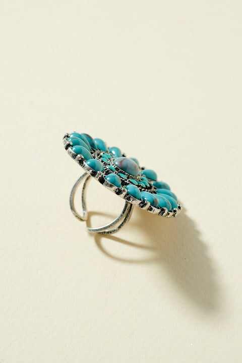 Western Floral Cuff Adjustable Ring